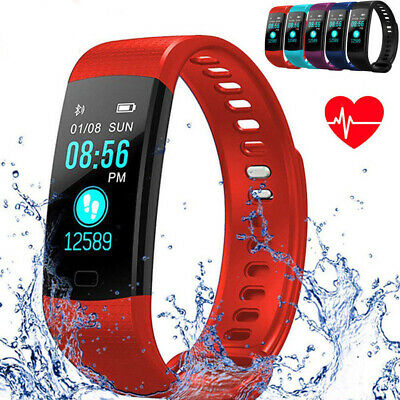 Smart Bracelet Wristband Watch Heart Blood Pressure Fitness Tracker Band Red