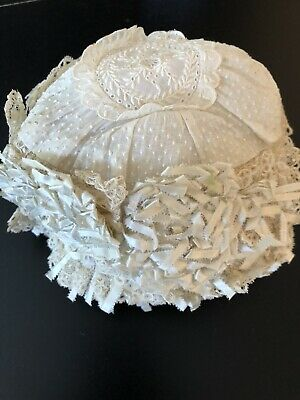 Circa 19Thc. Sweet Whitework Christening Bonnet W/Lovely Ribbon Rosettes