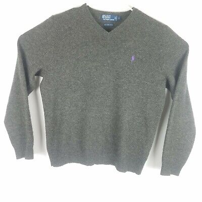 Polo Ralph Lauren Mens Large V-Neck Lambs Wool Pullover Sweater L/S Solid Grey