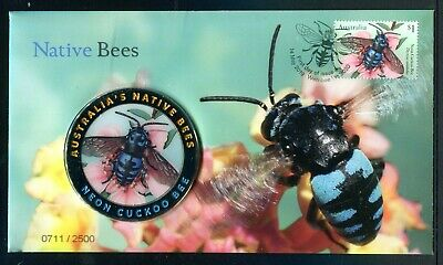 2019 Native Bees FDC With Neon Cuckoo Bee Coloured Medallion 0711/2500