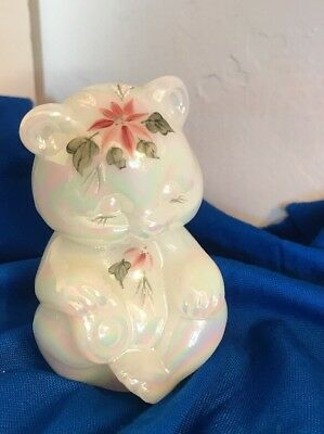 Fenton Bear Hand Painted  Flowers White Stain Carnival  Iridescent Signed