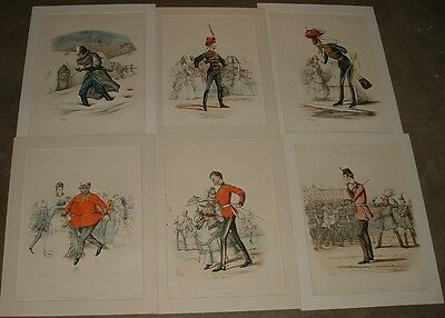 Rare 1873 Army Navy Drolleries Litho Prints #1-6 British Army Major TS Seccombe
