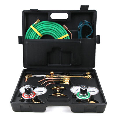 Gas Welding Cutting Kit Oxy Acetylene Oxygen Torch Brazing Fits + Plastic Box