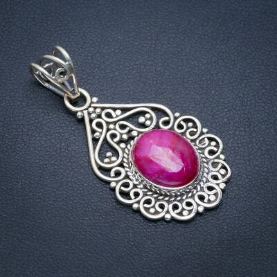 """Cherry Ruby 925 Sterling Silver Pendant 1.5"""" A1661"""