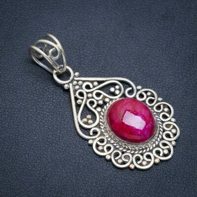 """Cherry Ruby 925 Sterling Silver Pendant 1.5"""" A1977"""
