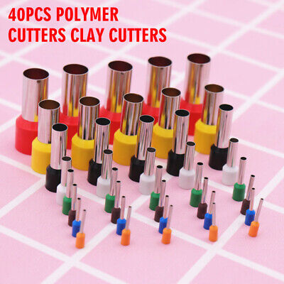 40Pcs Polymer Cutters Clay Cutters Stainless Steel Round Cutters for Pottery
