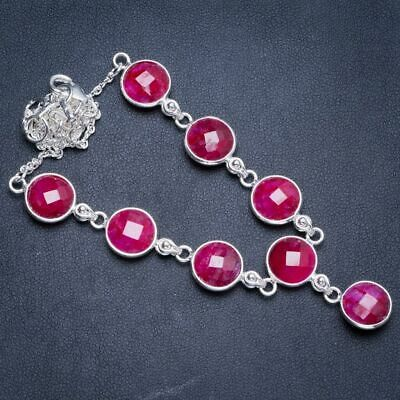 """Cherry Ruby 925 Sterling Silver Neacklace 17.5+1.5"""" Y5352"""