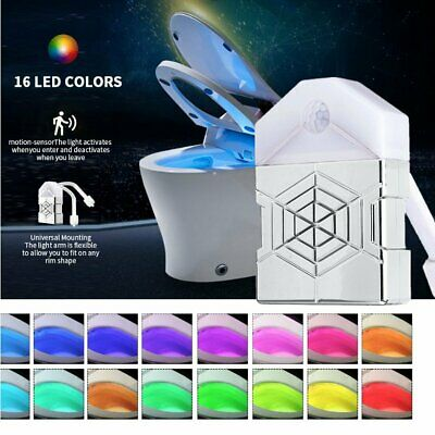 16 Colors Toilet LED Night Light Bathroom Motion Activated Seat Sensor Lamp