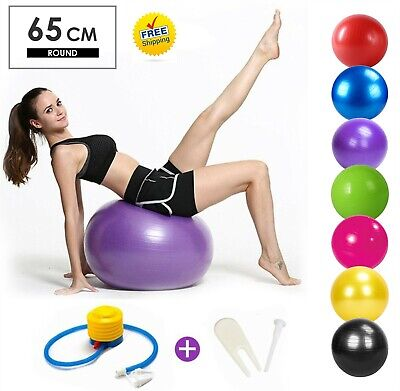Fittex Exercise Gym Ball Yoga Swiss Pregnancy Birthing Anti-Burst 65cm With Pump