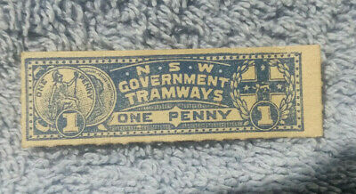 #D400. #2. 1890s NSW GOVERNMENT  TRAMWAYS   PENNY  TICKET