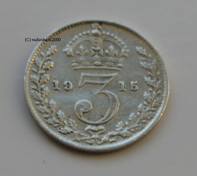 George V 1915 Silver 3d threepence thrupence. 92.5% (Sterling) silver