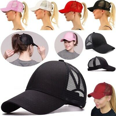 Plain Ponytail Baseball Caps Women Messy Bun Adjustable Snapback Hip Hop Hat US