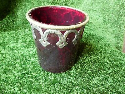 Victorian ruby glass pot with plated metal scroll work decoration