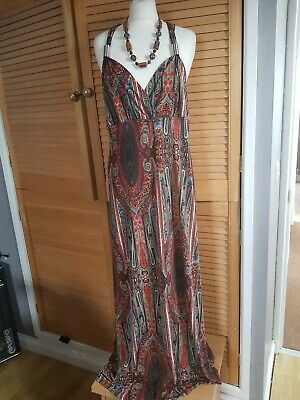 New Look Multi Paisley Festival 70s inspired Maxi Summer Long Cool Dress size 12