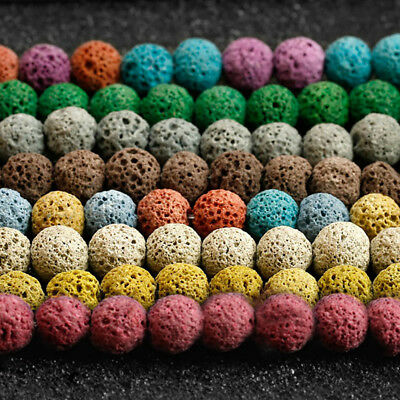 EG_ Mixed Natural Volcanic Lava Rock Stone Loose Beads DIY Jewellery Bracelet