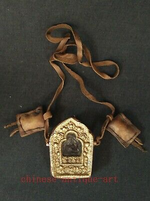 Collection Old Chinese Tibet Copper leather Buddha Statue Box Amulet Pendant