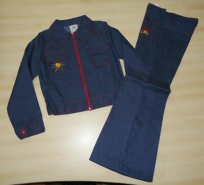 VINTAGE UNWORN 70's GIRLS BLUE 'GARDEN SCENE' DENIM JACKET & TROUSER SUIT AGE 10