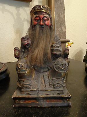 Antique  Chinese Hand Carved  Wood  Home Wealth Shrine Figure  Ancestor Figure