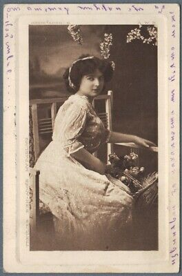 Old Photo Postcard Modern Beautiful Girl in White Dress ~ My Darling