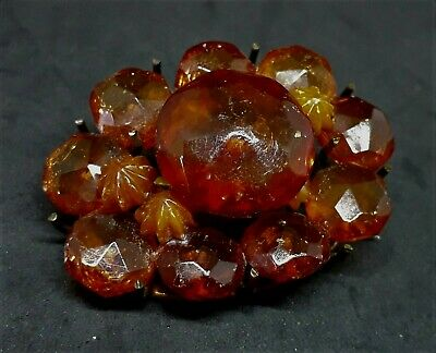Antique FACETED BALTIC AMBER BROOCH Larger Size SOME DAMAGE Butterscotch