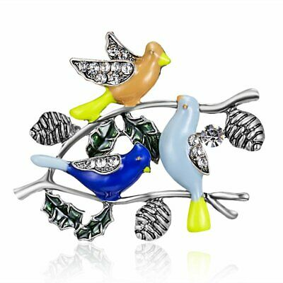 Spring Crystal Branch Birds Animal Insects Brooch Pin Women Party New Arrival