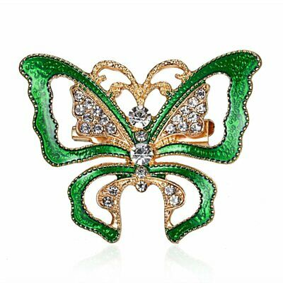 Vintage Crystal Animal Insects Green Butterfly Brooch Pin Women Party Hot Gift