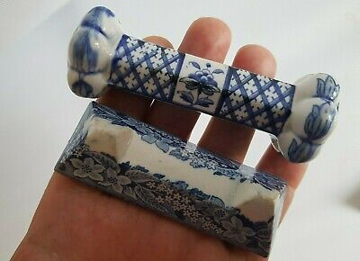 Antique Rare 19th CenturyLot of 2 Knife Rests Blue & White Staffordshire Delft ?