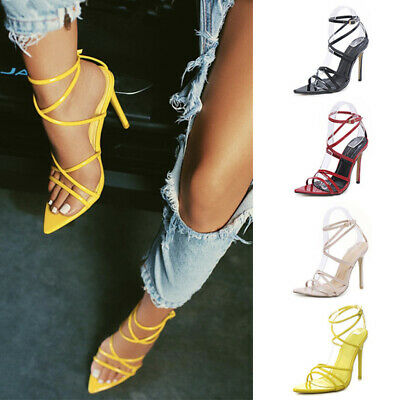 Sexy Women Ladies Open Toe Ankle Strap Pointy Sandals High Heel Party Shoes Size