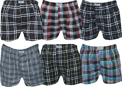 1x to 6x Pack Mens Woven Cotton Boxer Shorts Check Print Loose Fit Underwear
