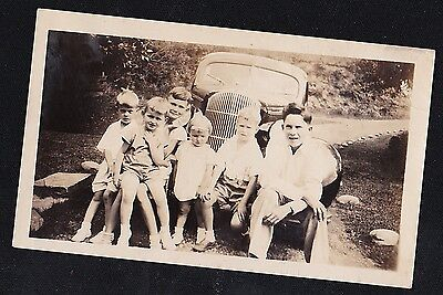 Antique Vintage Photograph Bunch of Children Sitting in Front of Antique Car