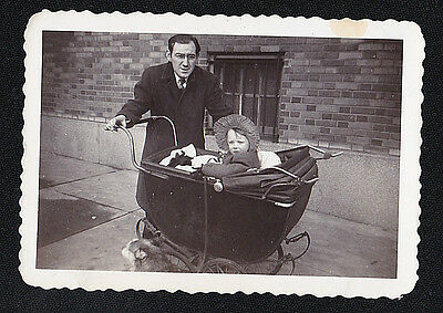 Antique Vintage Photograph Dad With Adorable Baby in Old Time Carriage - Bonnet