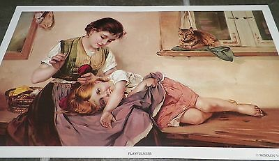 Gorgeous Victorian Gallery Print Playfulness Girl Sewing & Napping Cat Kitten