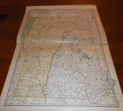 1911 Vermont and New Hampshire The Century Atlas Map No. 7