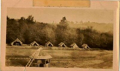 Old Vintage Antique Photograph Bunch of Military Tents Set Up On Field
