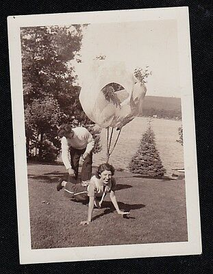 Vintage Antique Photograph Man & Woman Clowning Around by Lake
