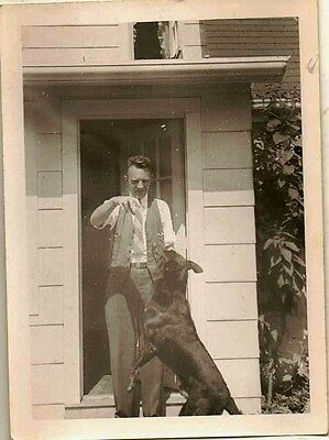 Antique Vintage Photograph Man By Front Door With Huge Black Puppy Dog