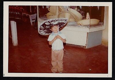 Vintage Photograph Cute Little Boy Wearing Huge Mexican Sombrero