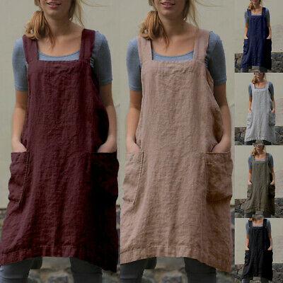 CO_ ITS- Women Ladies Solid Color Sleeveless Cotton Linen Pinafore Loose Midi Dr