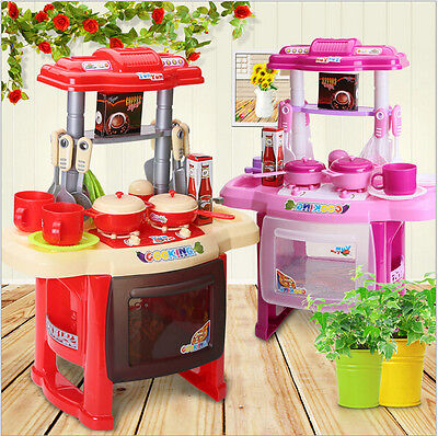 Portable Electronic Children Kids Kitchen Cooking Girl Toy Cooker Play house Set