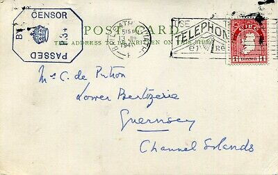 1940 - Ireland - Plain Postcard Censored To Guernsey, Telephone Slogan Cancel