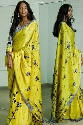 For Women Ethnic Wex Batik Designer Cotton Hand Made Printed Saree &Blouse Pices