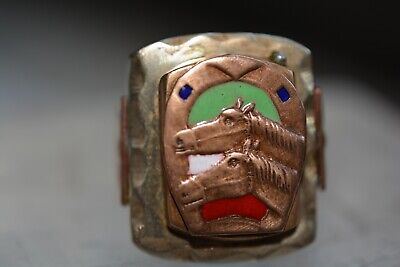 Antique Old Vintage Men's Lucky Horse Shoe Horses Inlay Enamel Ring Size 10.5