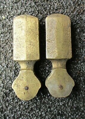 2 Antique Cast Brass Pulley Cord Weights Curtains Drapes Repurpose