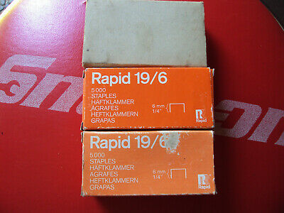 "3 Boxes 5000 Galvanized Rapid Isaberg Staples 19/6 1/4"" 6mm  Sweden Germany"