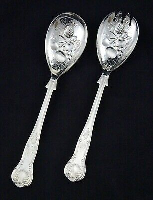 "Vintage Ornate Silver Plated Kings Pattern 9.5"" Berry Fruit Salad Serving Spoons"