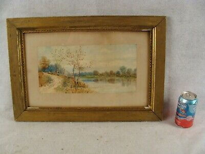 Antique 19C New England Fall Foliage Landscape W/C  Painting