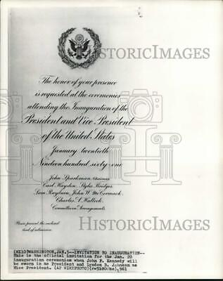 1961 Press Photo Official invitation for JFK's presidential inauguration