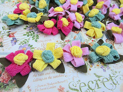 20 Hand Made Flower with Leaves 4 Color/Craft/Knitting Embellishment/Sewing H413