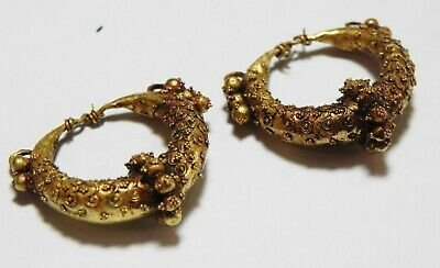 Zurqieh -As13499- Ancient Canaanite . Pair Of Gold Earrings. 1550 - 1200 B.c