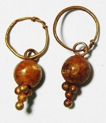 Zurqieh -As13501- Ancient Canaanite . Pair Of Gold Earrings. 1550 - 1200 B.c